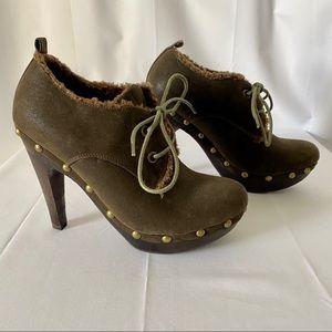 Aldo Lined Brown Tie Soft Leather Platform Booties